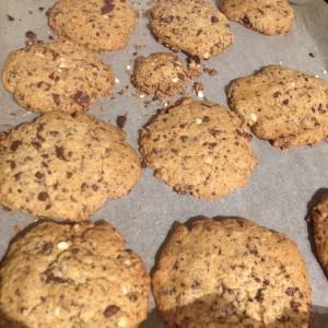 cookies di zenzero e cioccolato-teglia