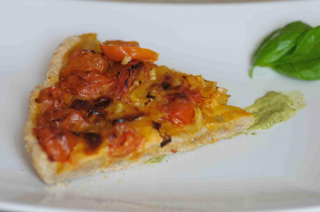 torta salata porri e pomodorini
