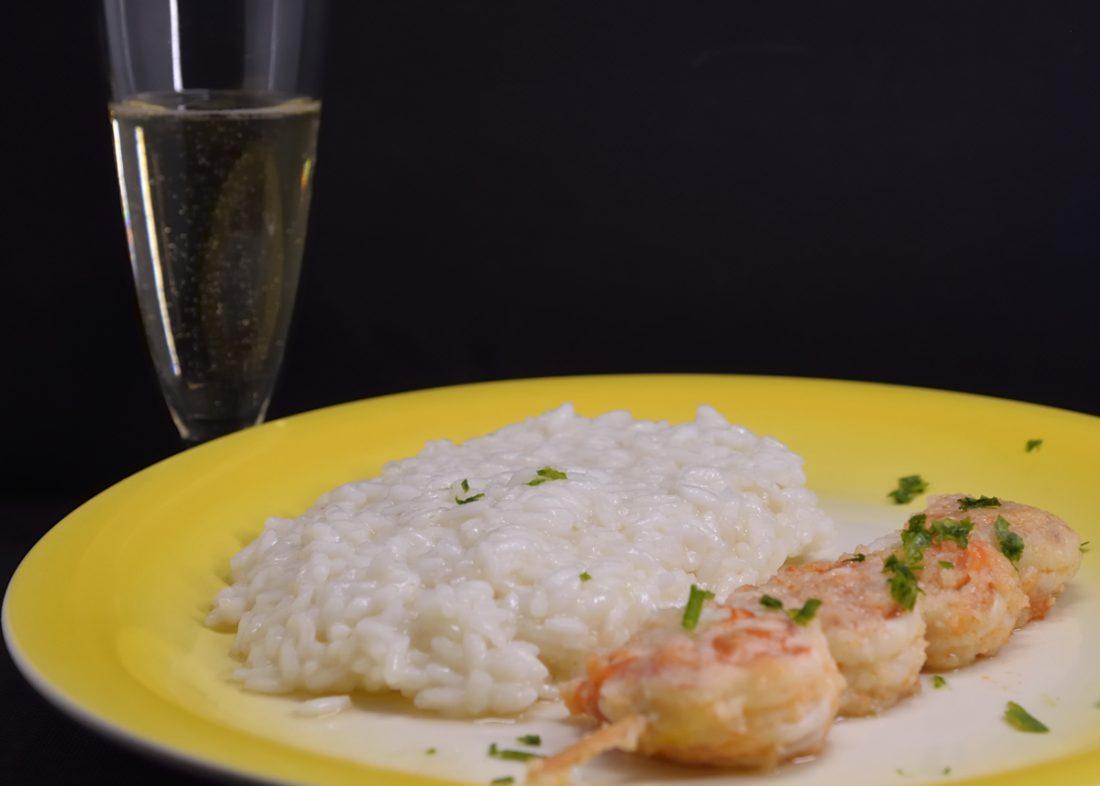 risotto allo Champagne e gamberi